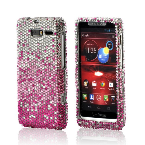 Magenta/ Baby Pink Waterfall on Silver Gems Bling Hard Case for Motorola Droid RAZR M