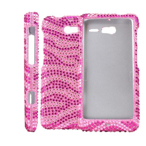 Pink/ Hot Pink Zebra Bling Hard Case for Motorola Droid RAZR M