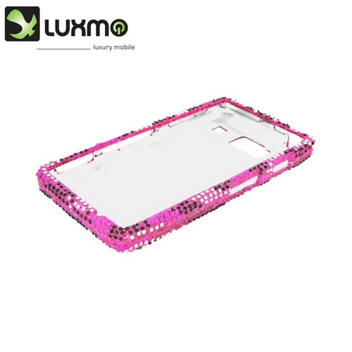 Motorola Droid RAZR HD Bling Hard Case - Black/ Silver Hearts on Pink Gems