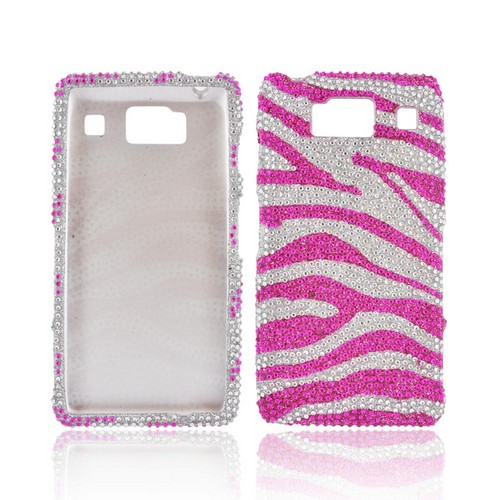 Motorola Droid RAZR HD Bling Hard Case - Hot Pink/ Silver Zebra