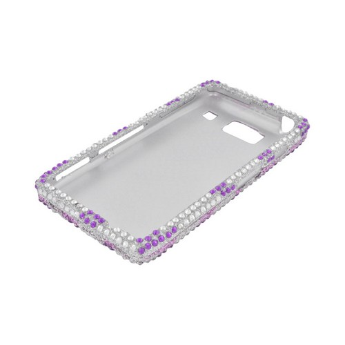 Motorola Droid RAZR HD Bling Hard Case - Purple/ Silver Zebra