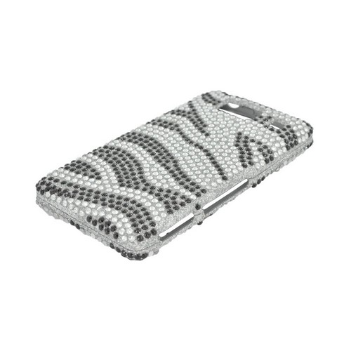 Motorola Droid RAZR HD Bling Hard Case - Silver/ Black Zebra