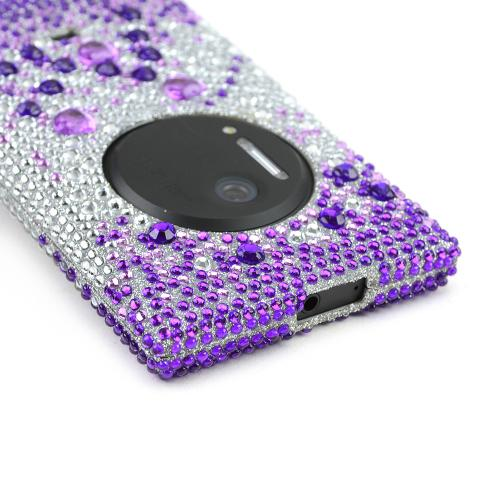Purple Hearts on Light Purple/ Silver Bling Hard Case for Nokia Lumia 1020
