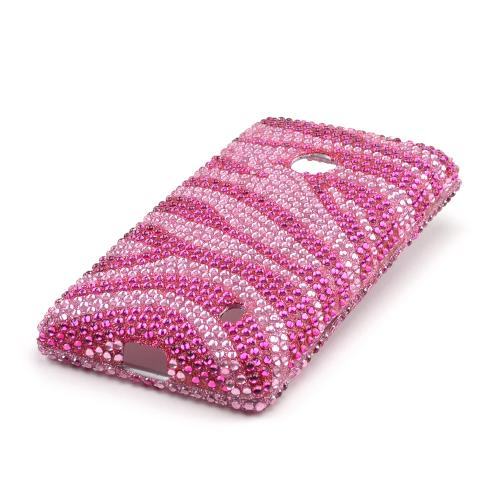 Hot Pink/ Baby Pink Zebra Bling Hard Case for Nokia Lumia 521