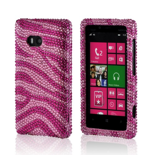 Hot Pink/ Baby Pink Zebra Bling Hard Case for Nokia Lumia 810