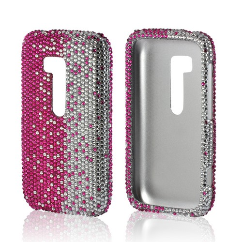 Hot Pink/ Silver Gems Bling Hard Case for Nokia Lumia 822