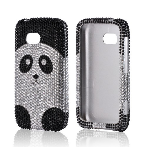 Black/ Silver Panda Bling Hard Case for Nokia Lumia 822