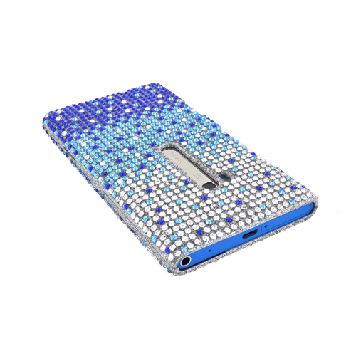 Nokia Lumia 900 Bling Hard Case - Turquoise/ Blue Waterfall on Silver Gems