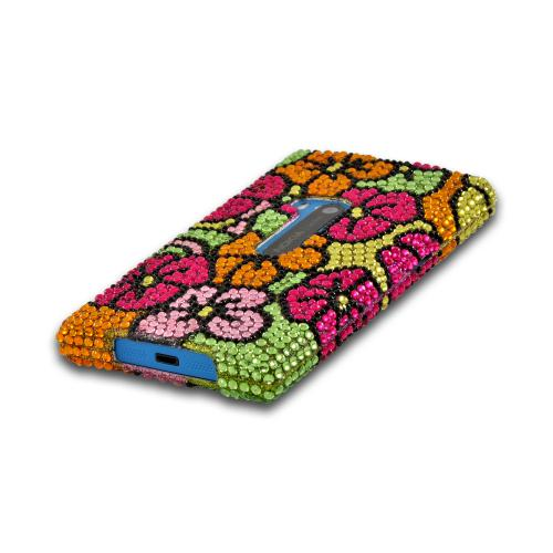 Green/ Hot Pink/ Yellow Hawaiian Flowers Bling Hard Case for Nokia Lumia 920