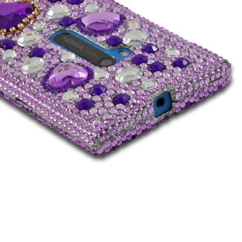 Purple Hearts on Light Purple/ Silver Gems Bling Hard Case for Nokia Lumia 920