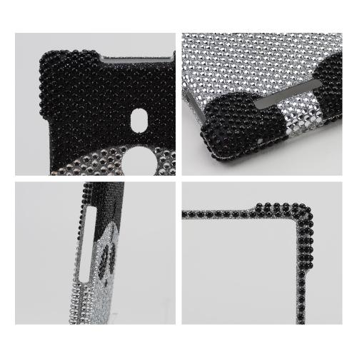 Silver/ Black Panda Bear Bling Hard Case Nokia Lumia 925