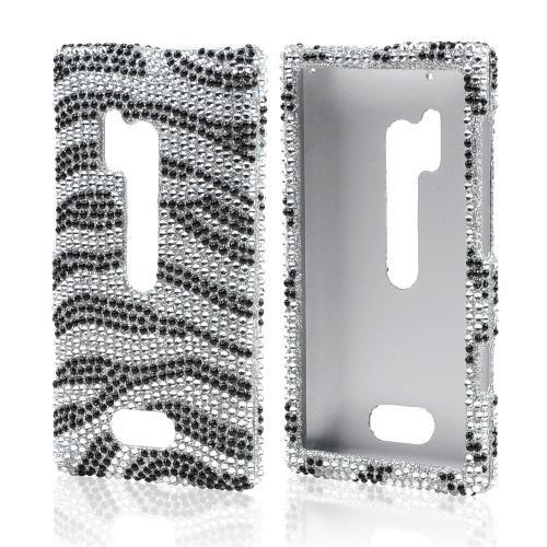 Black Zebra on Silver Bling Hard Case for Nokia Lumia 928