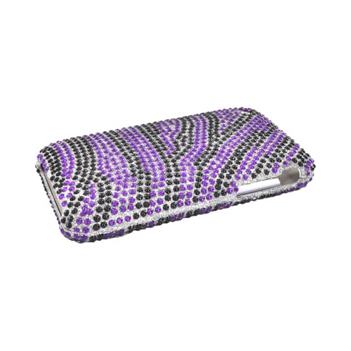 Apple iPhone 3GS 3G Bling Hard Case - Purple Zebra Diamonds