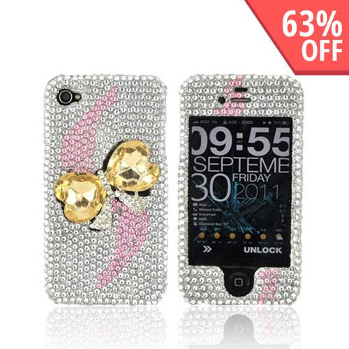 AT&T/ Verizon Apple iPhone 4, iPhone 4S Bling Hard Case - Gold Heart Bow Bling on Silver Gems