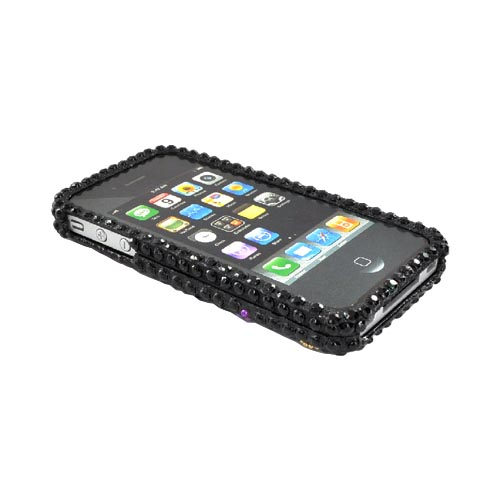 Luxmo Apple Verizon/ AT&T iPhone 4, iPhone 4S Bling Hard Case - Pink/Purple Butterfly on Black Gems