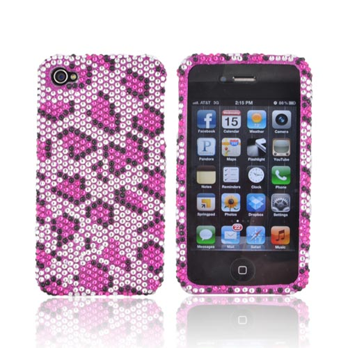 AT&T/ Verizon Apple iPhone 4, iPhone 4S Bling Hard Case - Hot Pink/ Black Leopard on Silver Gems