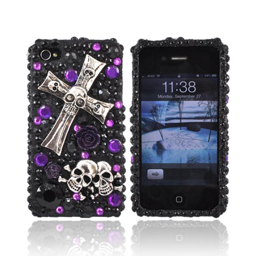 Luxmo Apple Verizon/ AT&T iPhone 4, iPhone 4S Bling Hard Case - Metal Cross/Skulls on Black/Purple Gems