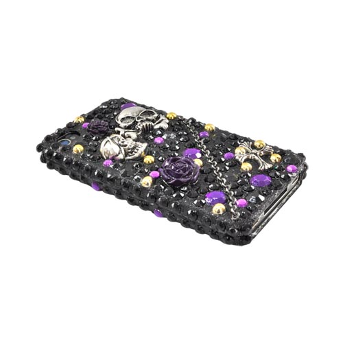 Luxmo Apple Verizon/ AT&T iPhone 4, iPhone 4S Bling Hard Case - Metal Skulls/Chain/Cross on Black/Purple Gems