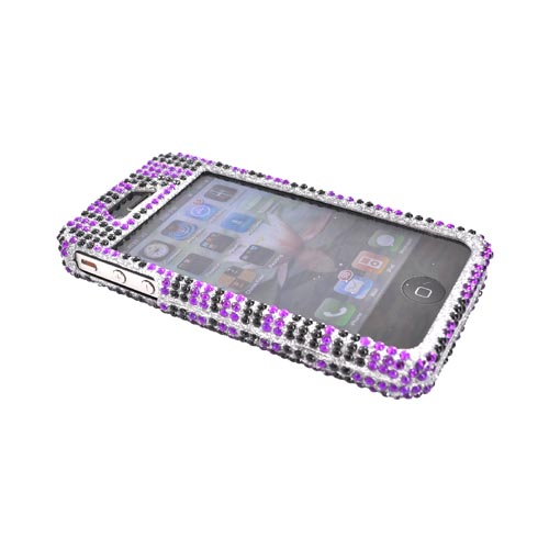 Apple Verizon/ AT&T iPhone 4, iPhone 4S Bling Hard Case - Purple/Black Zebra on Silver