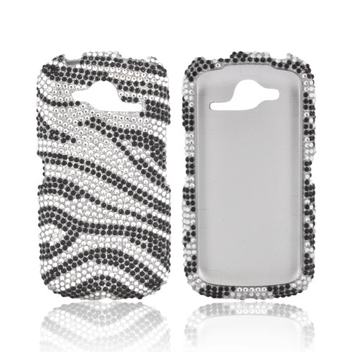 Pantech Burst 9070 Bling Hard Case - Black/ Silver Zebra