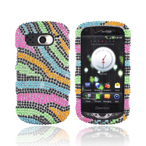 Pantech Breakout Bling Hard Case - Rainbow Zebra