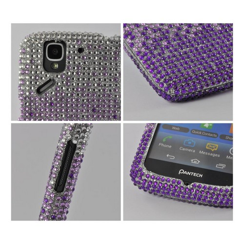Purple/ Lavender Waterfall on Silver Gems Bling Hard Case for Pantech Flex