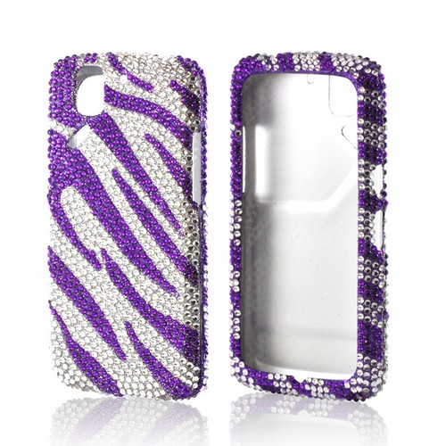 Purple/ Silver Zebra Bling Hard Case for Pantech Flex
