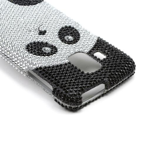 Black/Silver Panda Bling Hard Case for Pantech Perception