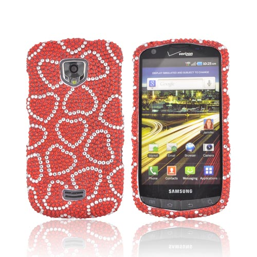 Samsung Droid Charge Bling Hard Case - Silver Hearts on Red Gems