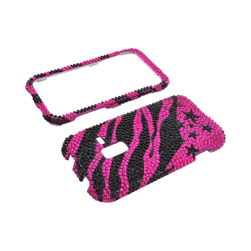 Samsung Conquer 4G Bling Hard Case - Black Zebra & Stars on Hot Pink Gems