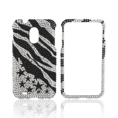 Samsung Epic 4G Touch Bling Hard Case - Black Zebra & Stars on Silver Gems