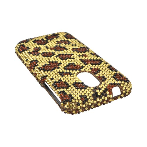 Samsung Epic 4G Touch Bling Hard Case - Brown Leopard on Gold Gems