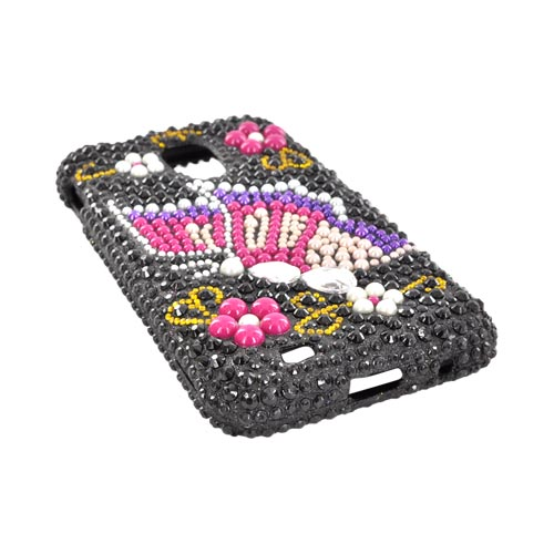 Samsung Epic 4G Touch Bling Hard Case - Pink/ Purple Butterfly on Black Gems