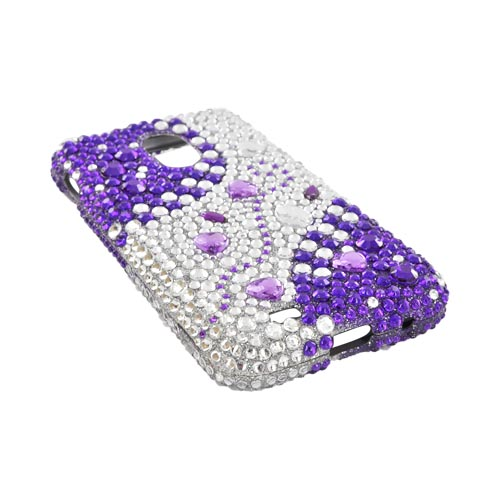 Samsung Epic 4G Touch Bling Hard Case - Purple Hearts on Purple/ Silver Gems