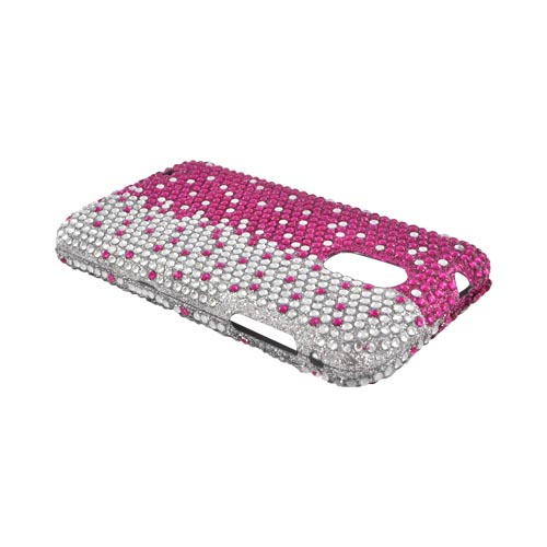 Samsung Epic 4G Touch Bling Hard Case - Hot Pink/ Silver Gems