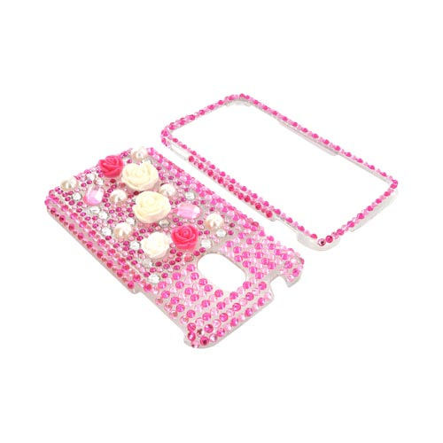 Samsung Epic 4G Touch Bling Hard Case - White/ Pink Roses on Pink Gems