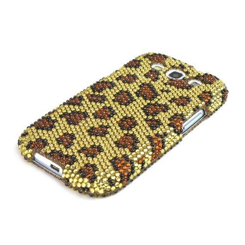 Samsung Galaxy S3 Bling Hard Case - Brown Leopard on Gold Gems
