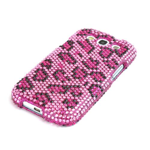 Samsung Galaxy S3 Bling Hard Case - Hot Pink/ Black Leopard on Pink Gems