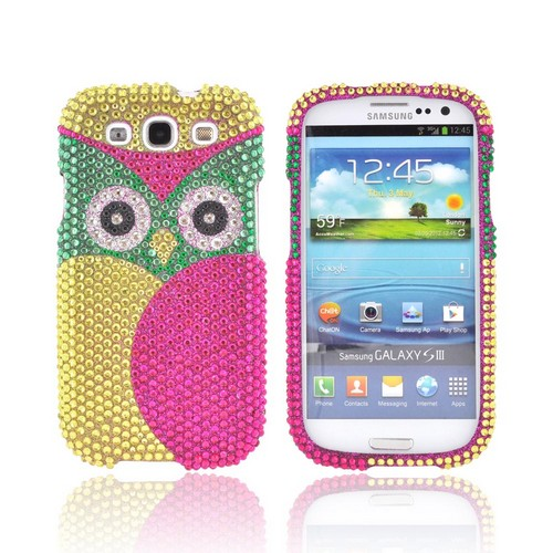 Samsung Galaxy S3 Bling Hard Case - Green/ Pink Owl Design