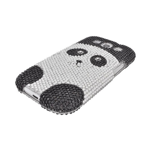 Samsung Galaxy S3 Bling Hard Case - Silver/ Black Panda