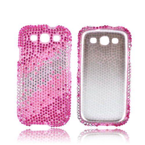 Samsung Galaxy S3 Bling Hard Case - Pink Splash on Silver Gems