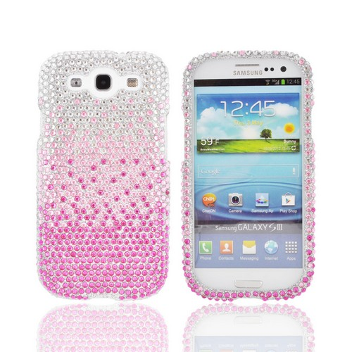 Samsung Galaxy S3 Bling Hard Case - Magenta/ Baby Pink Waterfall on Silver Gems