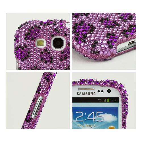 Samsung Galaxy S3 Bling Hard Case - Purple/ Light Purple Leopard Gems