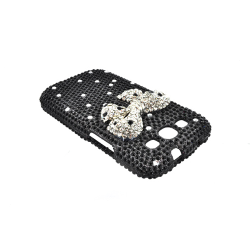 Premium Samsung Galaxy S3 Bling Hard Case - Silver Bling Bow on Black Gems