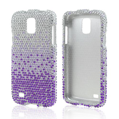 Purple/ Lavender on Silver Gems Bling Hard Case for Samsung Galaxy S4 Active