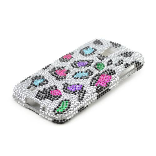 Rainbow Leopard Gems on Silver Bling Hard Case for Samsung Galaxy S4 Active
