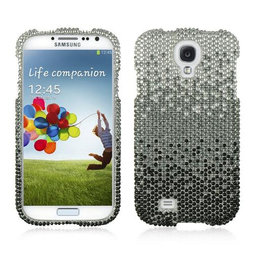 Silver Waterfall on Black Gems Bling Hard Case for  Samsung Galaxy S4