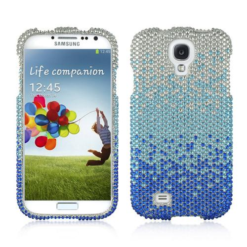 Blue/ Turquoise Waterfall on Silver Gems Bling Hard Case for Samsung Galaxy S4