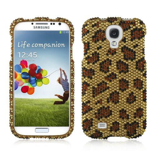 Brown Leopard on Gold Gems Bling Hard Case for  Samsung Galaxy S4