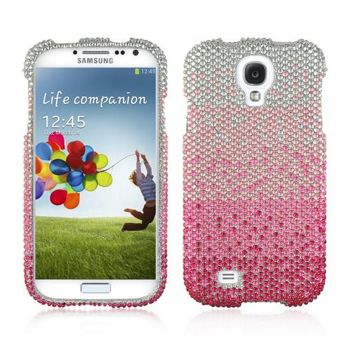 Hot Pink/ Baby Pink Waterfall on Silver Gems Bling Hard Case for Samsung Galaxy S4